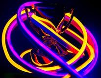 Troféu coberto nas luzes de néon fotos de stock