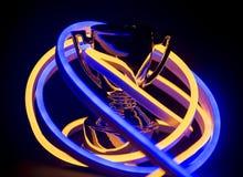 Troféu coberto nas luzes de néon imagens de stock