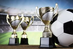 Troféu do vencedor, equipamento de esporte e bolas Foto de Stock Royalty Free
