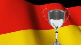 Troféu na frente de acenar a bandeira alemão video estoque