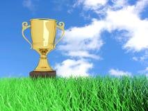 Troféu na grama Imagens de Stock Royalty Free