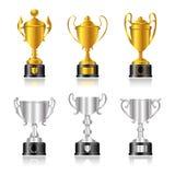 Troféus e concessões - jogo 1 - ouro, prata - base Fotografia de Stock