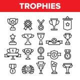 Trofea I medale Dla Pierwszy miejsca Wektorowych Liniowych ikon Ustawiać ilustracja wektor