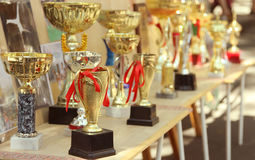 Trofeeën voor het winnen Stock Foto