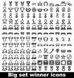 Trofee en toekennings geplaatste pictogrammen Royalty-vrije Stock Foto