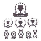 Trofee en toekennings geplaatste pictogrammen Royalty-vrije Stock Afbeelding