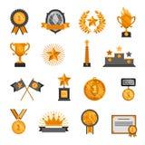 Trofee en toekennings geplaatste pictogrammen Stock Fotografie