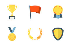 Trofee en Toekennings vlakke pictogrammen Stock Afbeeldingen