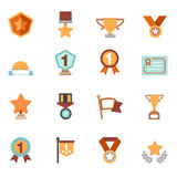 Trofee en toekenningspictogrammen Stock Afbeeldingen