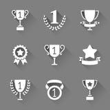 Trofee en toekenningspictogrammen Royalty-vrije Stock Foto's
