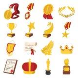 Trofee en van het toekenningsbeeldverhaal geplaatste pictogrammen stock fotografie