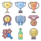 Trofee, toekenning De lijnen en vullen pastelkleurenpictogram Stock Afbeelding