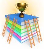 Trofeeboeken en ladder het 3d teruggeven Royalty-vrije Stock Foto