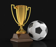 Trofeekop en Voetbalvoetbal Royalty-vrije Stock Afbeelding