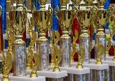 Trofei della tazza dell'oro Immagini Stock