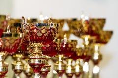 Trofei dorati Fotografie Stock Libere da Diritti