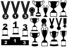 Trofei e medaglie impostati illustrazione vettoriale