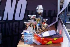 Trofei per la vettura da corsa dei vincitori che va alla deriva in Norvegia Fotografia Stock