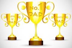 Trofeo con il messaggio di festa del papà Immagini Stock Libere da Diritti