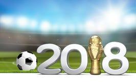 trofeo 2018 con una palla di calcio di calcio come rappresentazione 3d Fotografia Stock Libera da Diritti