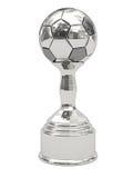 Trofeo d'argento della sfera di calcio sul basamento Fotografie Stock