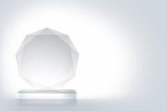 Trofeo de cristal aislado en blanco foto de archivo libre de regalías