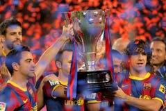 Trofeo de Liga del La del asimiento de Xavi y de Puyol imagen de archivo libre de regalías