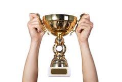 Trofeo de oro imagenes de archivo