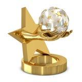 Trofeo de oro con la estrella y las manos Foto de archivo