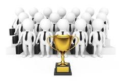 Trofeo de oro delante 3d del hombre de negocios Team Characters 3d ren Imágenes de archivo libres de regalías