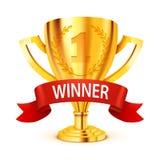 Trofeo de oro realista con la cinta del ganador Vector stock de ilustración