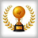 Trofeo de oro realista del balón de fútbol con el oro Laurel Wreath libre illustration