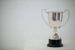 Trofeo de plata en fondo gris imagenes de archivo