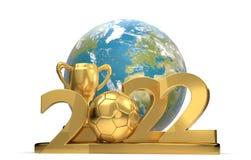 trofeo 2022 del fútbol del balón de fútbol con el mundo 3d-illust de la tierra del planeta Imágenes de archivo libres de regalías