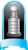 Trofeo del hockey en la visualización azul stock de ilustración