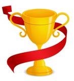 Trofeo del oro con la cinta roja Fotos de archivo libres de regalías