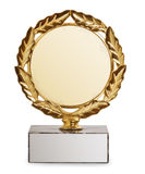 Trofeo dell'oro isolato su priorità bassa bianca Immagini Stock Libere da Diritti