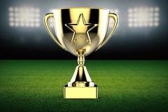 Trofeo della stella d'oro sul fondo del campo di calcio Fotografie Stock Libere da Diritti