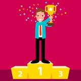 Trofeo della tenuta dell'uomo d'affari Immagine Stock Libera da Diritti