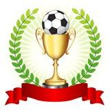 Trofeo di calcio su fondo d'ardore illustrazione vettoriale