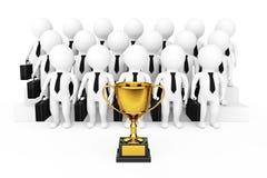 Trofeo dorato davanti 3d all'uomo d'affari Team Characters 3d ren Immagini Stock Libere da Diritti