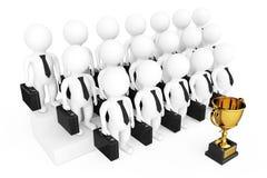 Trofeo dorato davanti 3d all'uomo d'affari Team Characters 3d ren Fotografie Stock Libere da Diritti