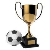 Trofeo dorato del premio di calcio. Fotografie Stock Libere da Diritti