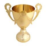 Trofeo dorato isolato Fotografie Stock