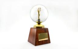Trofeo dorato su bianco Immagini Stock Libere da Diritti