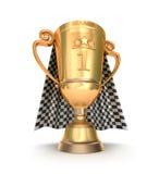 Trofeo e bandiera dorati di corsa Fotografia Stock Libera da Diritti