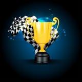 Trofeo e bandierina dorati Fotografie Stock Libere da Diritti