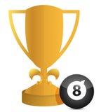 Trofeo e ilustración de la bola de billar stock de ilustración