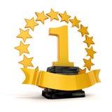 trofeo e stelle d'oro del posto 3d primo Fotografie Stock