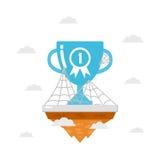 Trofeo en la isla con el web de araña Imagen de archivo